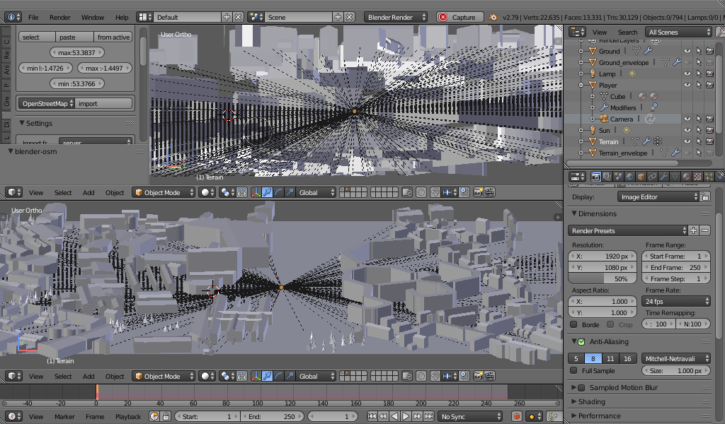 A 3d model of a city, with several lines coming from it, where it has incorrectly interpreted multi-level areas as flat.